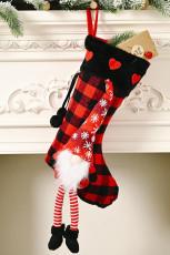 Piros karácsonyi kockás gnóm hópehely szív függő dísz zokni