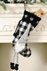 Fekete karácsonyi kockás gnóm hópehely szív függő dísz zokni