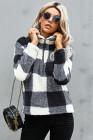 Черный плюшевый пуловер с воротником на молнии в клетку