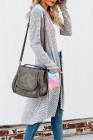 Tie-Dye Patchwork lange gestreifte Strickjacke mit Taschen