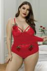 Conjunto de camisola de encaje con bordado floral de talla grande negro / rosa / rojo