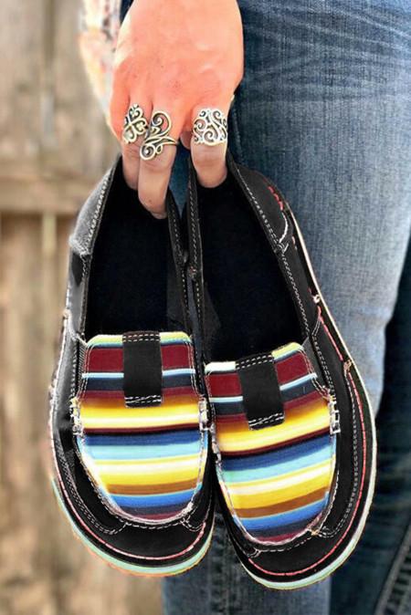 حذاء رياضي قماش مسطح مخطط