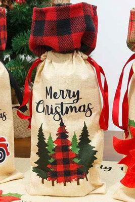 Bolsa de botella de vino con árbol de cuadros de feliz Navidad