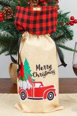 Merry Christmas Plaid Gnome Şarap Şişesi Çantası