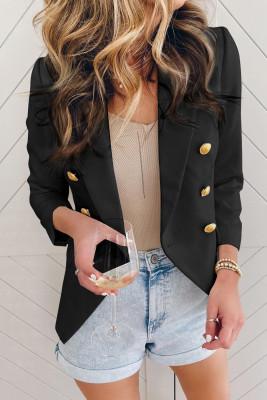 Черный двубортный пиджак на пуговицах с длинным рукавом