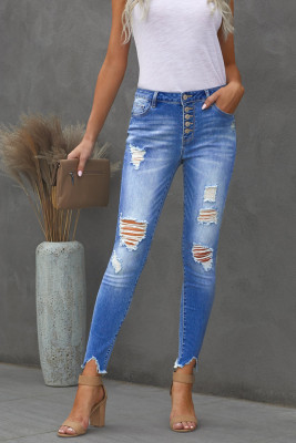 Jeans ajustados con tobillo deshilachado con botones de tiro alto en azul cielo