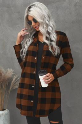 Abrigo estilo camisa de tartán con cuello vuelto marrón