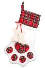الكلب الأحمر مخلب شكل العظام عيد الميلاد منقوشة طباعة معلقة جورب