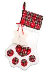 Piros kutya karom csont alakú karácsonyi kockás nyomtatási függő zokni