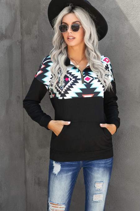 Schwarzes Turn Down Collar Zip Tribal Print Sweatshirt
