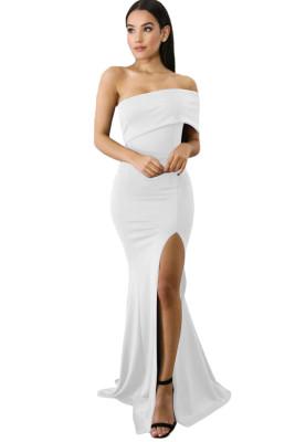أبيض قبالة الكتف كم واحد الشق فستان حفلة موسيقية ماكسي