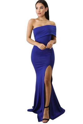 الأزرق قبالة الكتف كم واحد الشق فستان حفلة موسيقية ماكسي