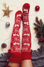 Piros karácsonyi jávorszarvas térdre kötött szőrgömb zokni