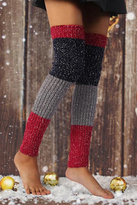 كتلة اللون ندفة الثلج فوق الركبة محبوك جوارب تدفئة الساق