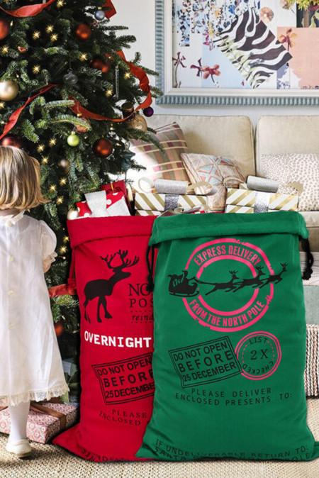 حقيبة الرباط قماش هدية عيد الميلاد الخضراء الأيائل