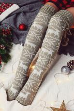 Szürke karácsonyi jávorszarvas térdre kötött szőrgömb zokni