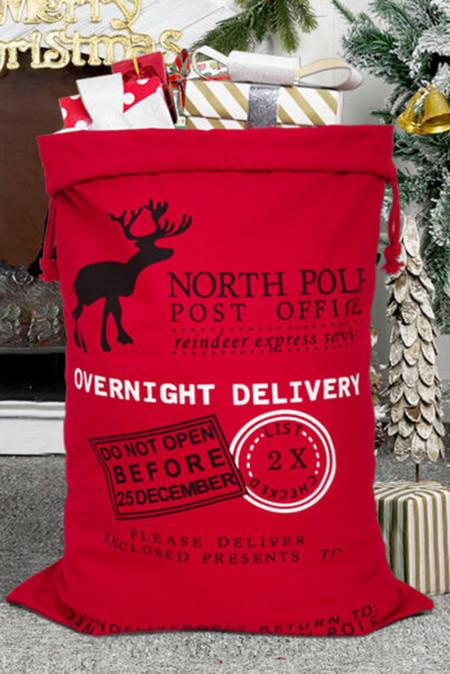 حقيبة الرباط قماش هدية عيد الميلاد الأحمر الأيائل