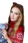 عيد الميلاد الأخضر الأحمر منقوشة ندفة الثلج طباعة Bowknot عقال