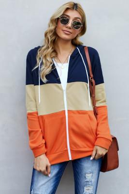 Orange Reißverschluss vorne Farbblock Spleißen Kordelzug Hoodie