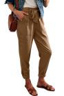كاكي بنطلون بلون سادة على طراز الفستان مع حزام