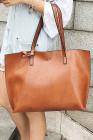 حقيبة يد جلد صناعي بشراشيب بنية اللون
