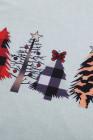 نمط عيد الميلاد الأحمر منقوشة لصق طويلة الأكمام الأعلى