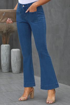 Синие джинсовые брюки с расклешенным низом