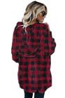 معطف أحمر منقوش من الصوف الغامض مفتوح من الأمام مع جيب
