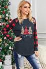 ليوبارد شجرة عيد الميلاد طباعة لصق أحمر منقوشة طويلة الأكمام الأعلى