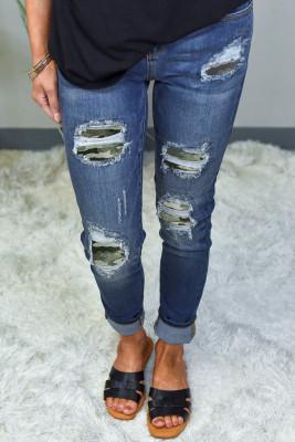 بنطال جينز سكيني برقعة مموهة