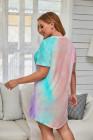 Minivestido de manga corta con efecto tie-dye multicolor