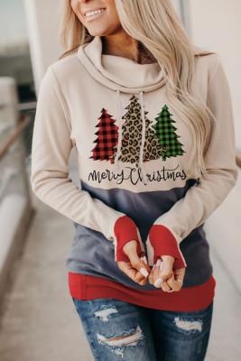Sudadera con capucha con estampado de árbol de Navidad de leopardo y orificio para el pulgar