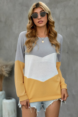 Sweatshirt à capuche jaune Chevron Waffle Colorblock