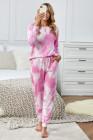 Ensemble de jogging à manches longues en tricot tie-dye rose