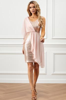 فستان شيفون وردي مزين بالترتر