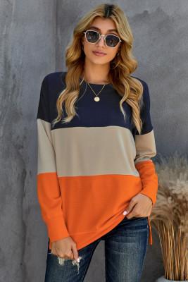 Оранжевый свитшот с контрастной строчкой с цветными блоками и разрезами