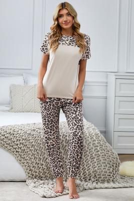 ليوبارد الربط قصيرة الأكمام قطعتين Loungewear مع جوفاء الظهر