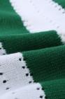 Grün gestreifter Colorblock V-Ausschnitt-Strickpullover