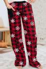 الأحمر الجاموس منقوشة ندفة الثلج طباعة عارضة فضفاض السراويل عيد الميلاد