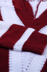 Rot gestreifter Colorblock V-Ausschnitt-Strickpullover