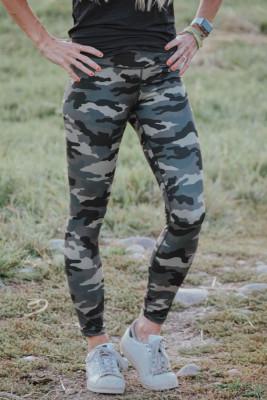 Leggings de camuflaje hasta los tobillos de cintura media