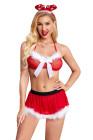 3 قطع الأحمر أفخم القوس الرسن عارية الذراعين الملابس الداخلية ثونغ زي عيد الميلاد