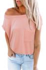 T-shirt rose à poches avec fentes latérales