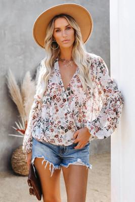 Blusa envolvente multicolor con cuello en V y manga farol con estampado floral