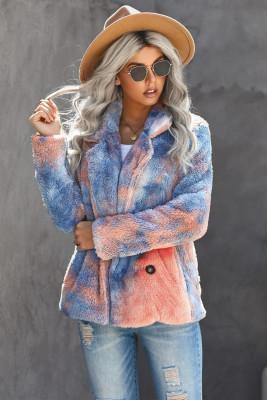 Abrigo de vellón con cuello de solapa con efecto tie dye