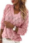 Розовый вязаный свитер с v-образным вырезом и длинным рукавом с перьями