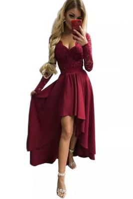 الأحمر الخامس الرقبة الدانتيل عارية الذراعين عالية ومنخفضة فستان سهرة