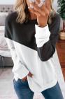 Schwarzes Patchwork fallen gelassenes Schulter-Sweatshirt