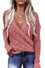 Pinker Langarm-Strickpullover mit tiefem V-Ausschnitt