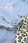 أزرق سماوي ليوبارد الربط اقتصاص سترة مع جيب